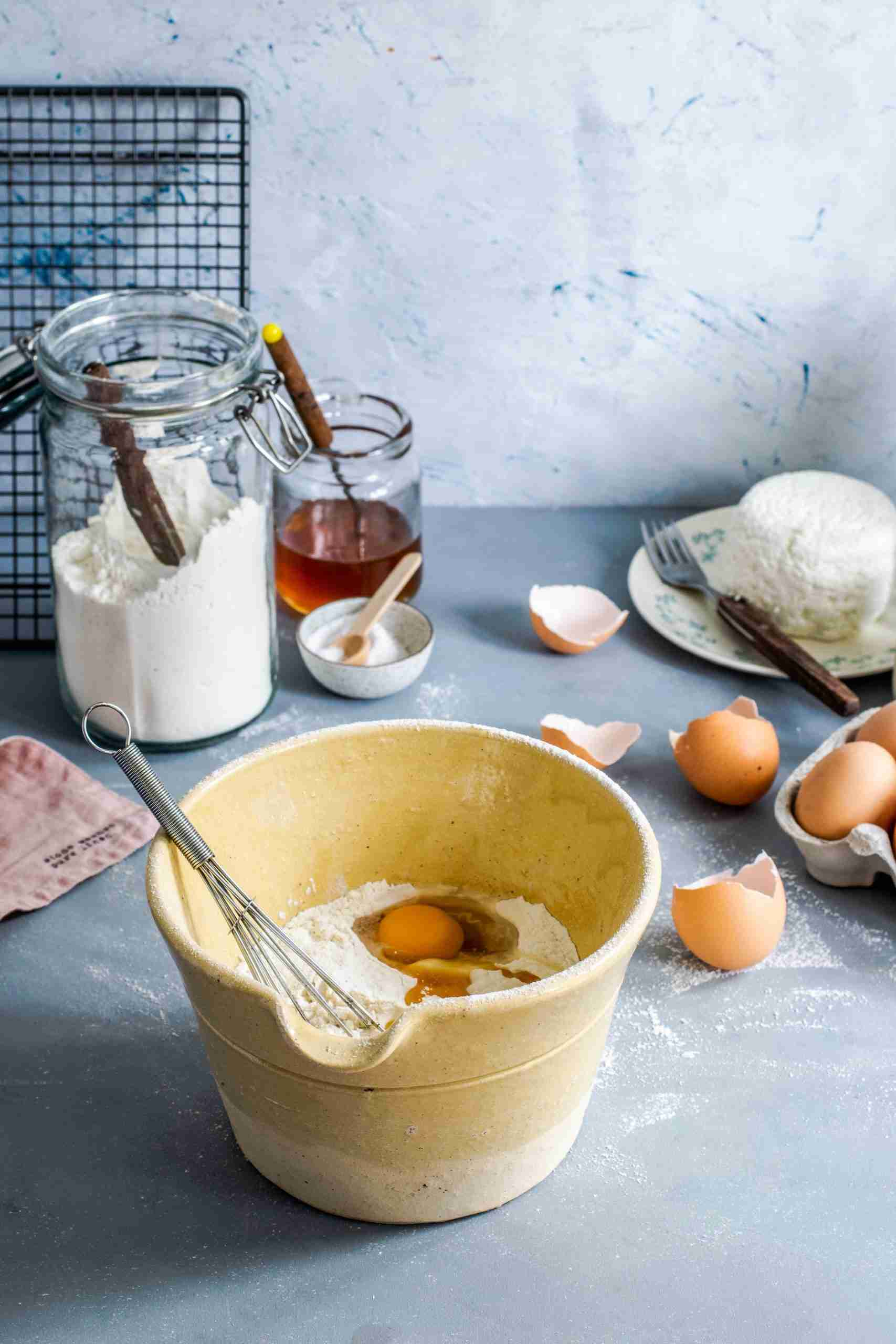 Baking utensils on the counter