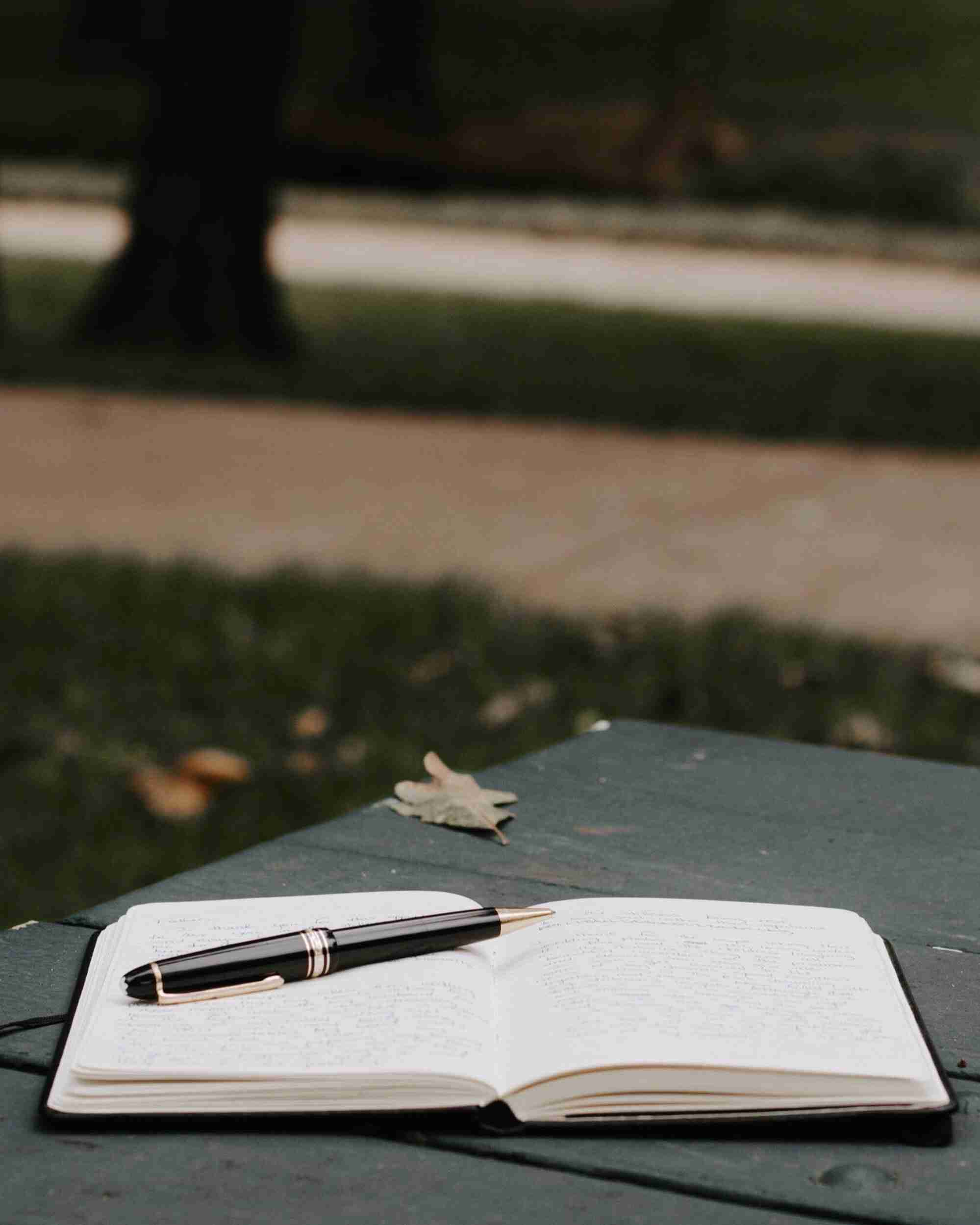Open notebook on a park table